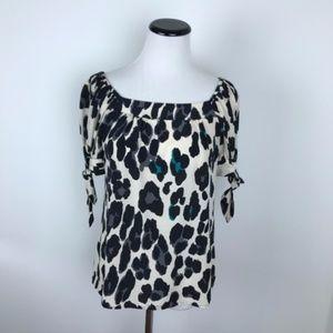 Nanette Lepore Silk Leopard Print Top size 0
